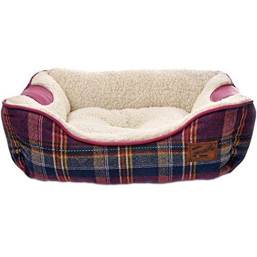 cool Bond & Co. Heritage Pink Plaid Bolster Dog Bed