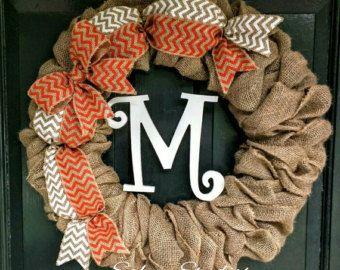 Burlap Wreath with White and Orange Chevron Burlap Bow and Monogram- Front Door Wreath- Monogram Wreath-Wedding Decoration- Wedding Gift-