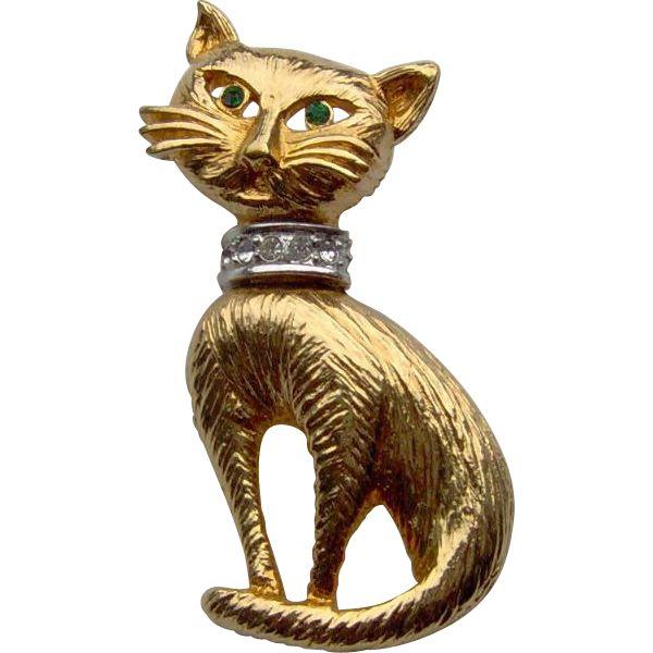 Adorable Cat Brooch. Vintage Jewelry Under $25  www.rubylane.com @Ruby Lane