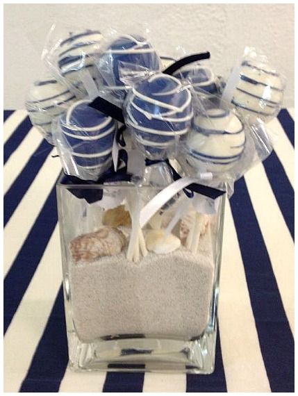 Nautical Theme Baby Shower Cake Pops #nauticaltheme #cakepops