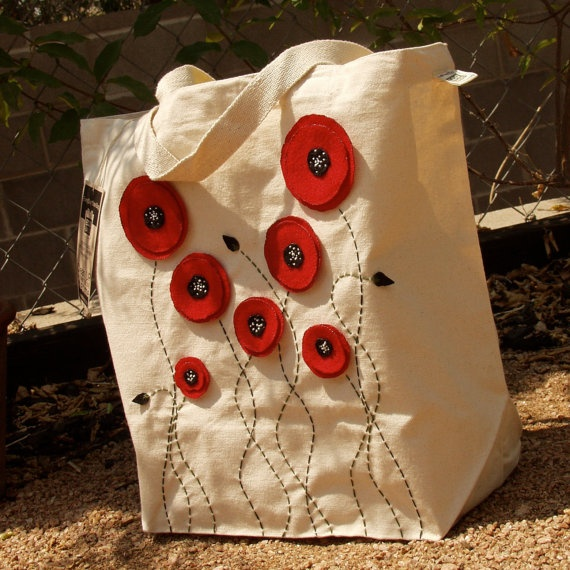 Great idea to embellish canvas shopping bags!