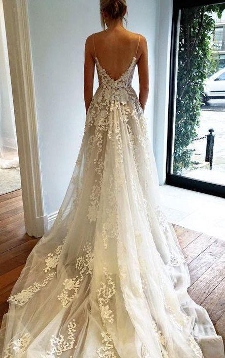 wedding dresses,wedding dress,Sexy Deep V neck Wedding Dress,Lace Wedding Dress,Open Back Bridal Dresses,Spaghetti Straps Wedding Gown,Beach Wedding Dress
