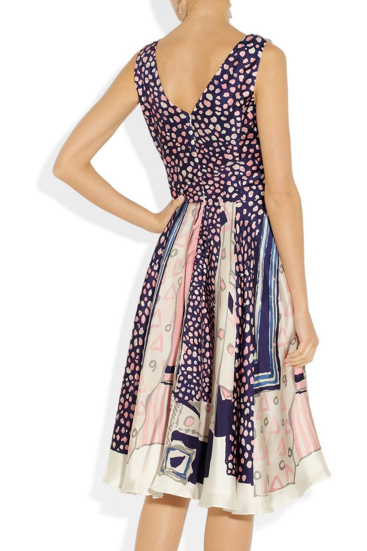 Oscar de la Renta | Printed silk-twill wrap-effect dress | NET-A-PORTER.COM