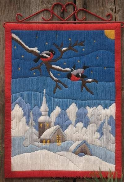 Bullfinch Snow Scene Long Stitch Kit - Idéna Collection by Anchor