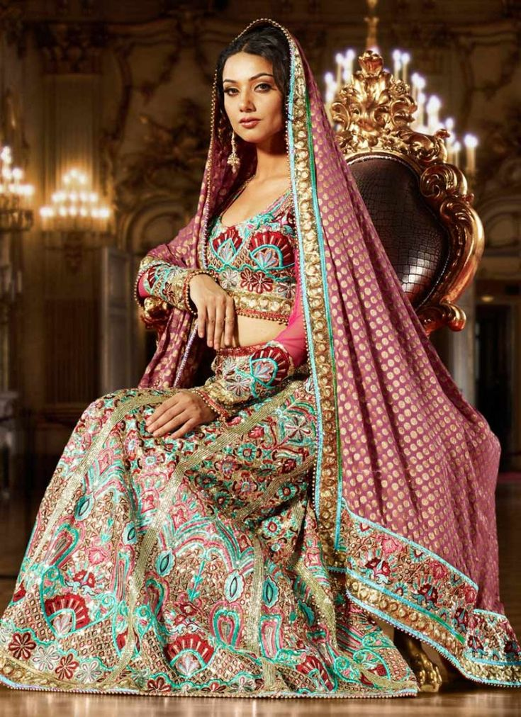 Long sleeve bridal lehenga indian things pinterest for Long sleeve indian wedding dresses