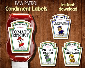 PAW PATROL Condiment Labels- Digital File