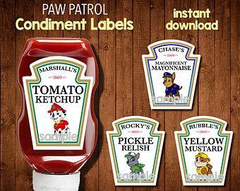 PAW PATROL Condiment Labels-  Digital File