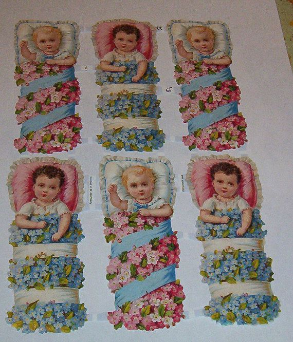 New German Victorian cute babies w flowers pink blue baby shower  litho scrap diecuts Germany ef 7131art craft paper decoupage scrap booking