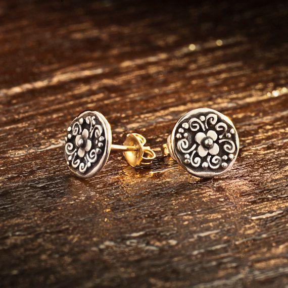Round Sterling Silver Stud Earrings Women Jewelry by LGAjewelry