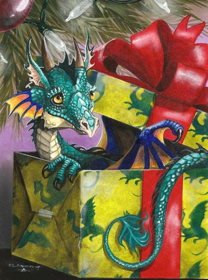 Christmas-Dragon-Is it time to open the presents? by Laura Reynolds