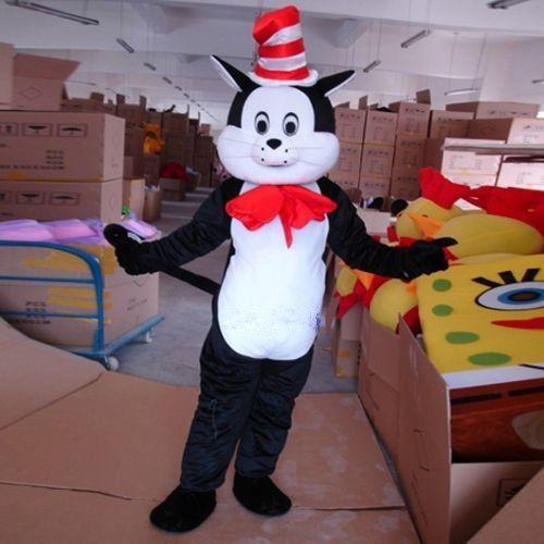 Dr.seuss the cat in the hat mascot costume black cat fancy dress adult size