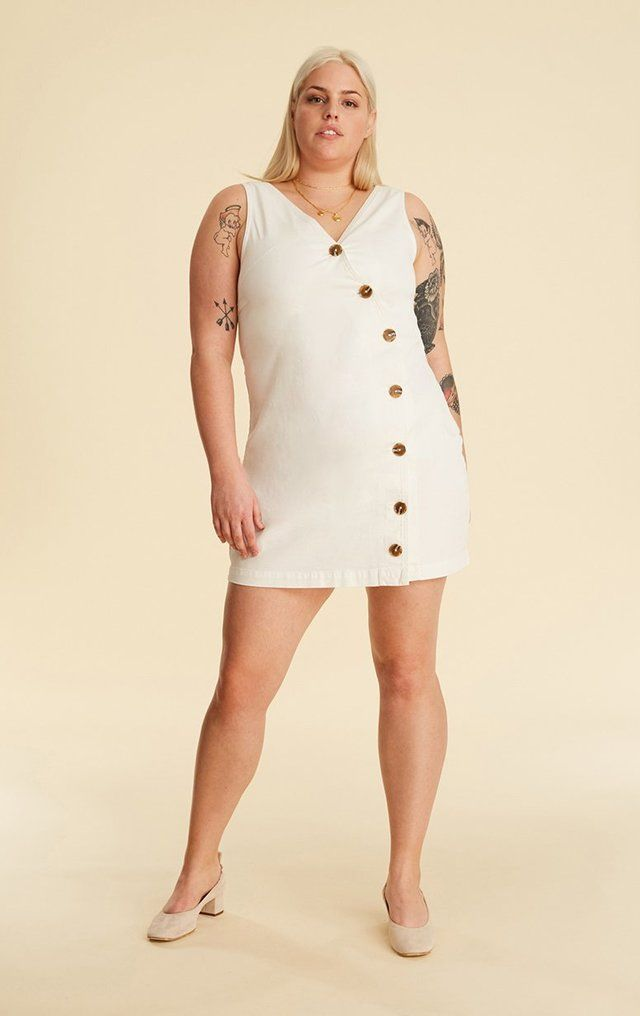 hto plus – button front dress in white | Insyze