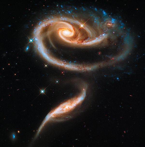 Space image Art Print for sale: A elegant rose made of galaxies. This image of a pair of interacting galaxies called Arp 273 was released to celebrate the 21st anniversary of the launch of the NASA/ESA Hubble Space Telescope. High quality digital painting with carefully enhanced colors, more vibrant and vivid than in the original photo. Looks amazing as large print, poster or canvas, bring the fascination of the universe in your home or office! Credit NASA, ESA, Hubble Heritage Team