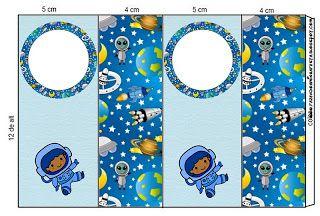 Astronauta - Kit Completo com molduras para convites, rótulos para guloseimas, lembrancinhas e imagens!