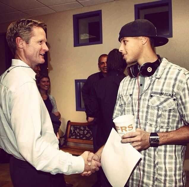 Back in 2009 when Stephen Curry was a rookie, he had his first encounter with Steve Kerr, who will now be his head coach. Image vis Warriors