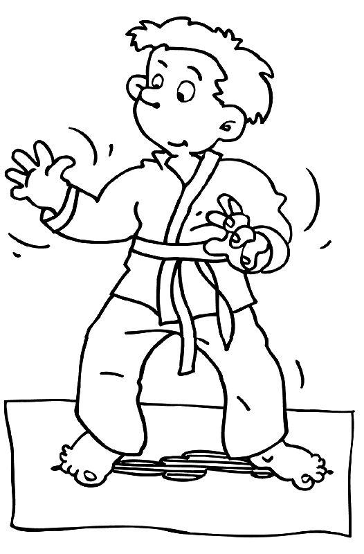 Kleurplaat beginnend judoka. Past bij de kleuters.