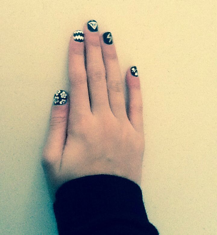 My nails flowers chevron deathly hallows symbol lightning blot and dog paws