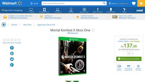 [Wal-Mart] Mortal Kombat X Xbox One 3443317 - de R$ 246,31 por R$ 137,00 (44% de desconto)