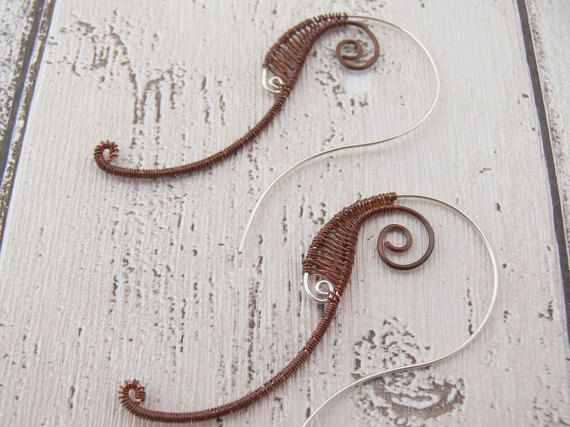 Silver earrings Copper earrings Modern earrings by Evesbeads