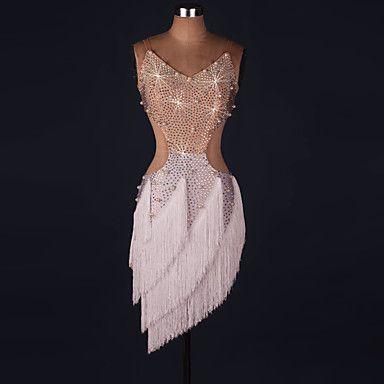 Latin Dance Dresses Performance Spandex / Lace / Organza Crystals/Rhinestones / Ruffles 1 Piece Long Sleeve High Dress 5453086 2017 – $89.99
