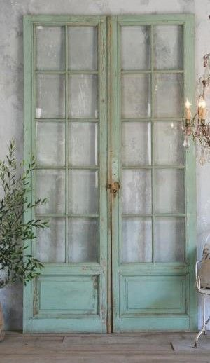 Antique shop doors...they long to live again...welcoming all to enter - I can just picture these opening from our diningroom onto the porch.                                                                                                                                                                                 More