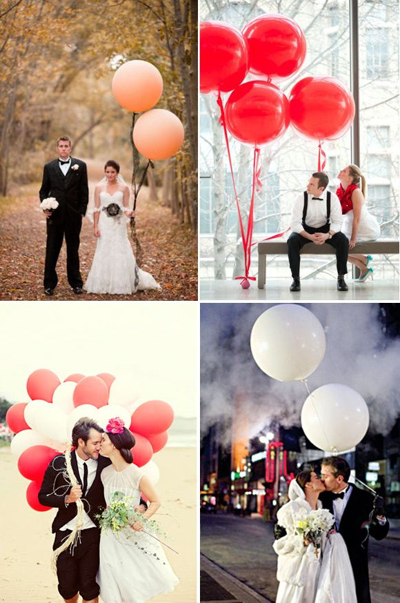 Romanticas fotos de boda con globos