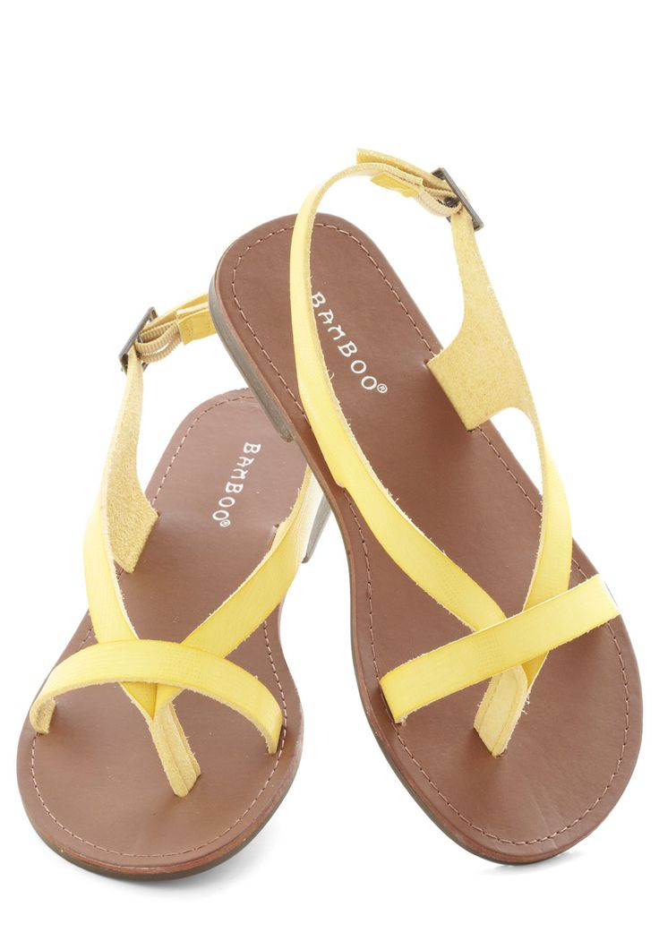 I Really Mustard Go Sandal - Yellow, Solid, Beach/Resort, Summer, Flat, Faux Leather, Strappy