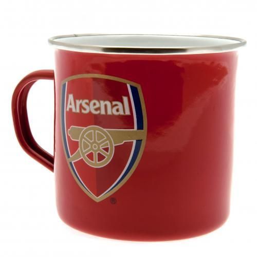 Enamel Arsenal tin mug in club colours and featuring the club crest. Great to use as a camping mug. FREE DELIVERY on all of our gifts