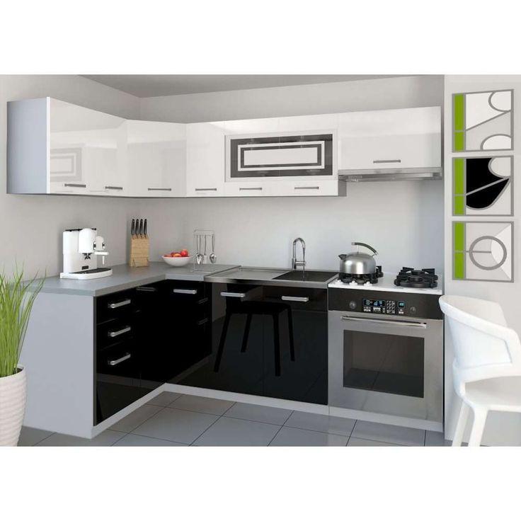 JUSThome Lidja P L-Cuisine équipée complète 130x230 cm Couleur: Noir/Blanc laqué haute brillance