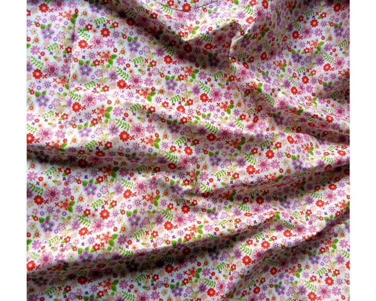 Flowerpower, virágmintás pamut vászon, pink