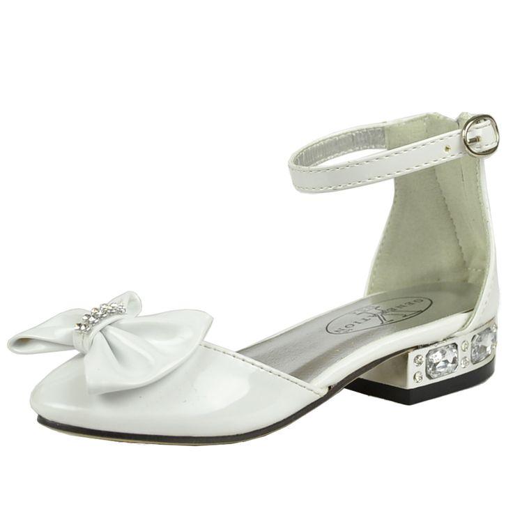 Kids Dress Shoes Metallic Heel Rhinestone Bow Accent Low Heel Pageant Sandals White
