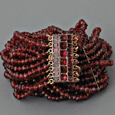 Antique Georgian Necklace Foil-backed Garnet Choker Rose Gold