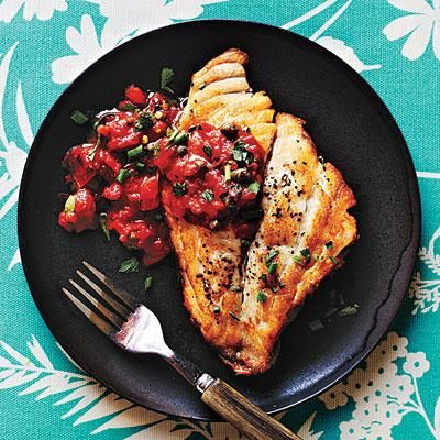 Pan-Roasted Fish with Mediterranean Tomato Sauce under 300 calories | Cookinglight.com