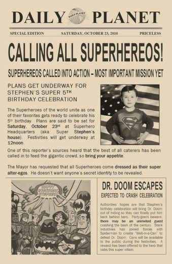 superhero birthday party invite