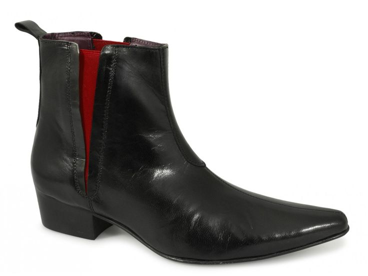 Gucinari BRUNO Mens Cuban Heel Red Line Pointed Gusset Boots Black £94.99  @Shuperb