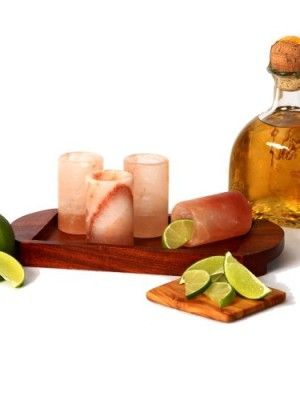 Himalayan Salt Tequila Shot Glass Set With Wooden Serving Tray