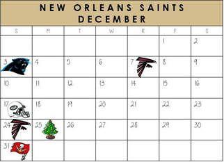 New Orleans Saints December Schedule 2017  #NewOrleans #NOLA #Saints #NFLSchedule #JordinsTurf