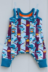 Sewing for baby: Racoons and Clouds.