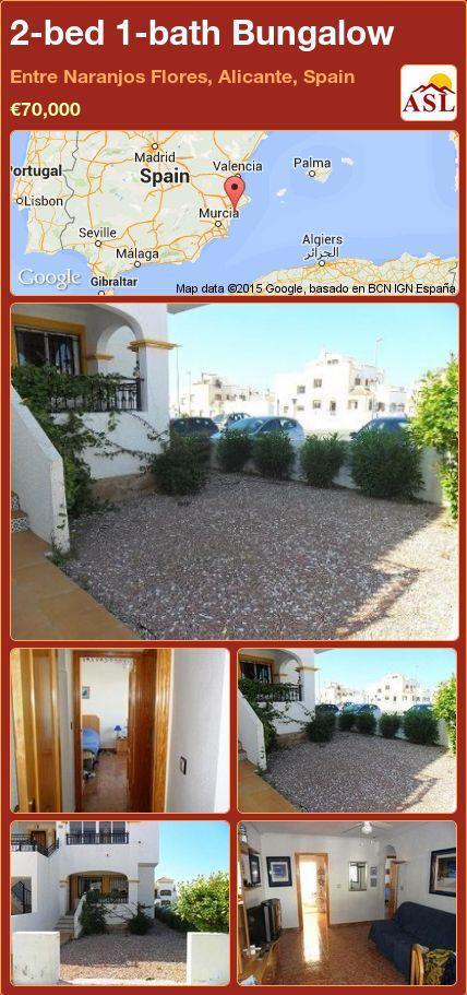 2-bed 1-bath Bungalow in Entre Naranjos  Flores, Alicante, Spain ►€70,000 #PropertyForSaleInSpain