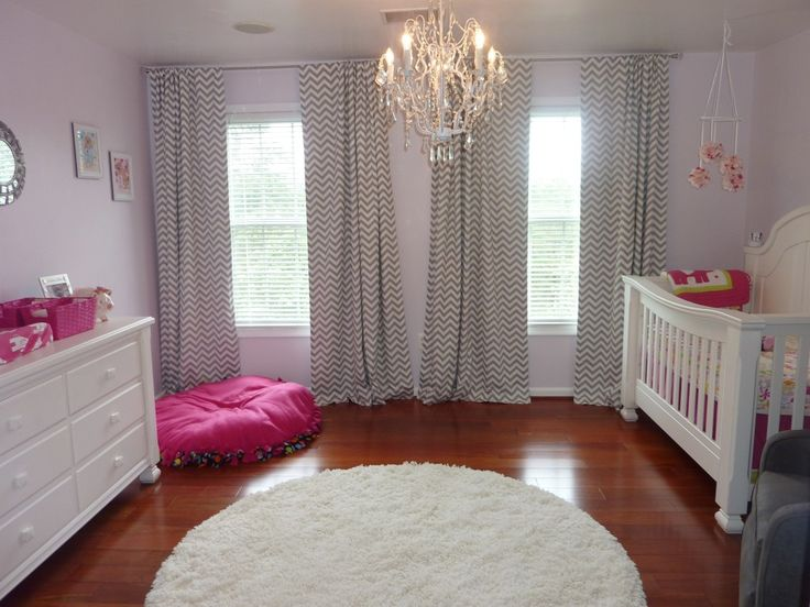 hot pink and gray elegant girl nursery front view