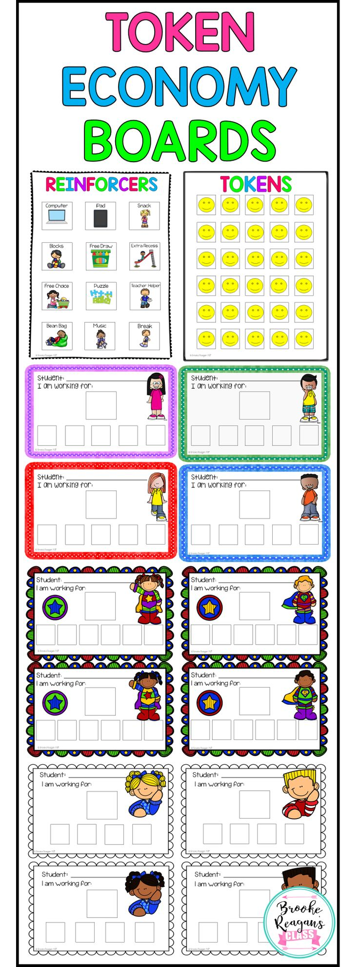 Positive rewards systems for reluctant learners. These tokens boards will help encourage the hardest of students to complete work and stay on task. Amazing behavior support.