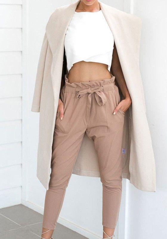 a8e42e038cd3 Pantalons longue avec noeud papillon ceinture taille haute mode élégan  khaki femme