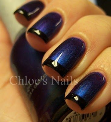 Funky FrenchBlue Velvet, Colors Combos, Nails Art, Chloe Nails, Nails Colors, Black Nails, Royal Velvet, Nails Polish, Blue Nails
