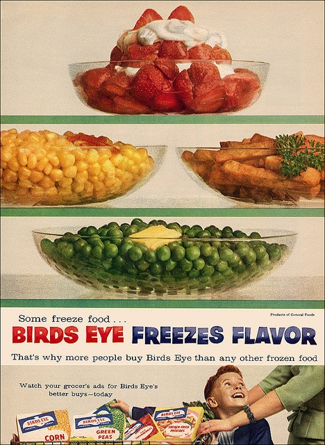 Birds Eye Ad, 1957. #vintage #food #ad #1950s