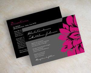 Fuchsia wedding invitations, modern, simple rose flower blossom wedding stationery in fuchsia, hot pink, black and charcoal gray, Athena