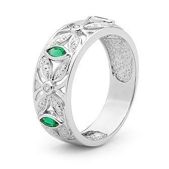 Emerald and Diamond Dress Ring - BEE-W25388-G