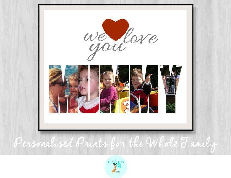 Custom Photo Wall Art We Love You Mummy, Custom Photo Prints, Gift For Mum, Photo Name Prints, Photo Gift, Personalised by DesignsByDjKidsArt on Etsy