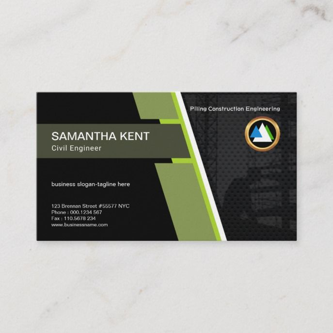 Construction Piling Bold Concise Modern Engineer Business Card Zazzle Com Engineering Business Slogans Business