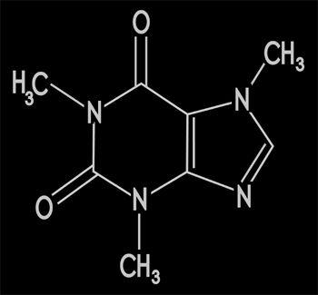 Chemical Symbol and Formula for Caffeine - Scientific Formula for Caffeine - Coffee Symbol Seen on Coffee Shirts - JPG Image