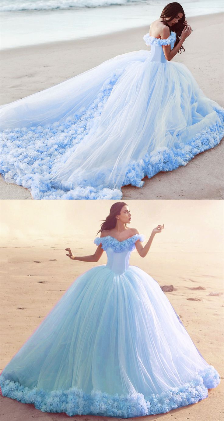 Off The Shoulder Tulle Flower Wedding Dresses Ball Gowns 2019
